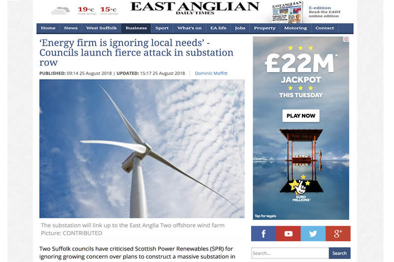EADT Suffolk - Local councils say energy firm Scottish Power Renewables is not listening.