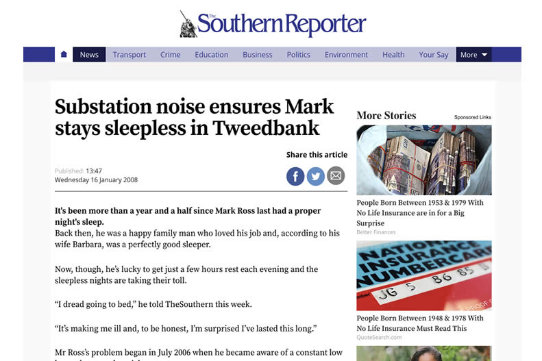 Southern Reporter - Substation noise ensures Mark stays sleepless.