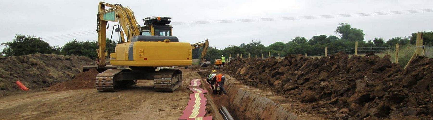 Example of wind farm cable route construction.