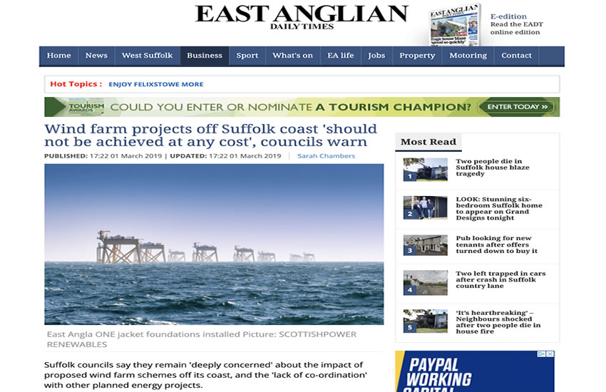 EADT - Suffolk councils slam Scottish Powers wind farm proposals 01-03-2019