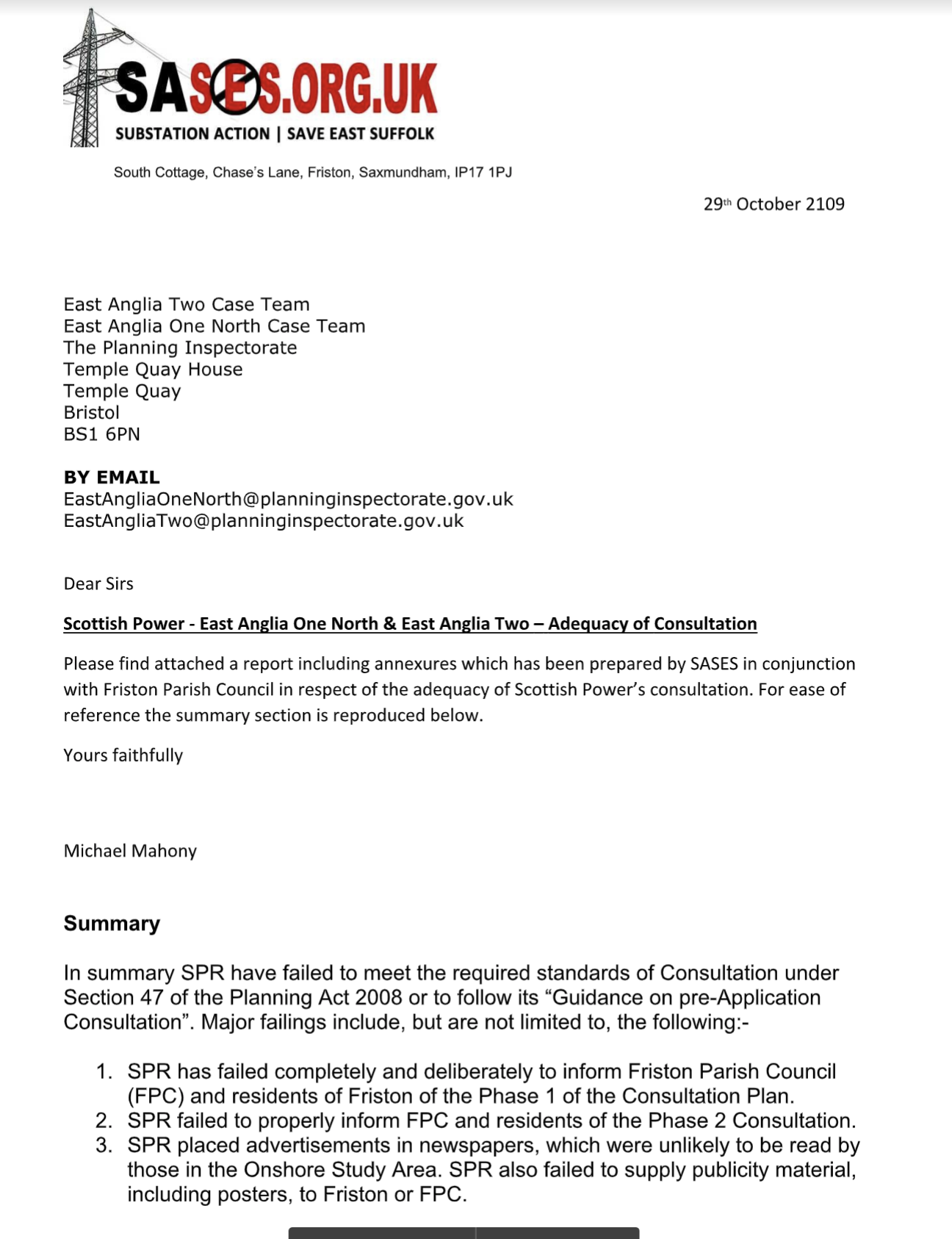 SASES letter to PINS EA1N & EA2 Consultations not acceptable page 1.