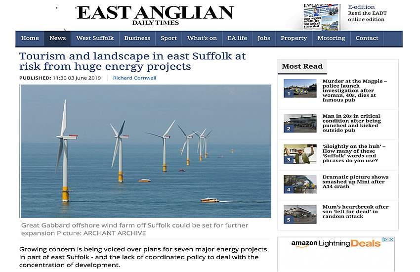 Tourism and landscape in east Suffolk at risk from huge energy projects - EADT 03-06-2019