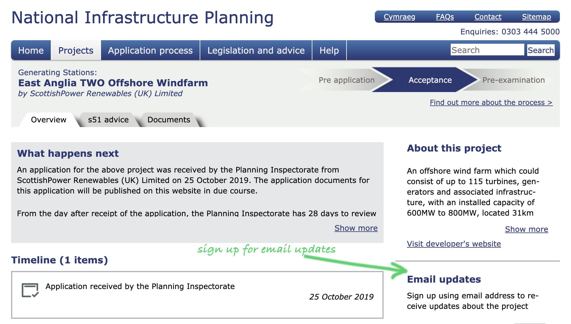 PINS Website screenshot EA2 DCO application 25th October 2019.