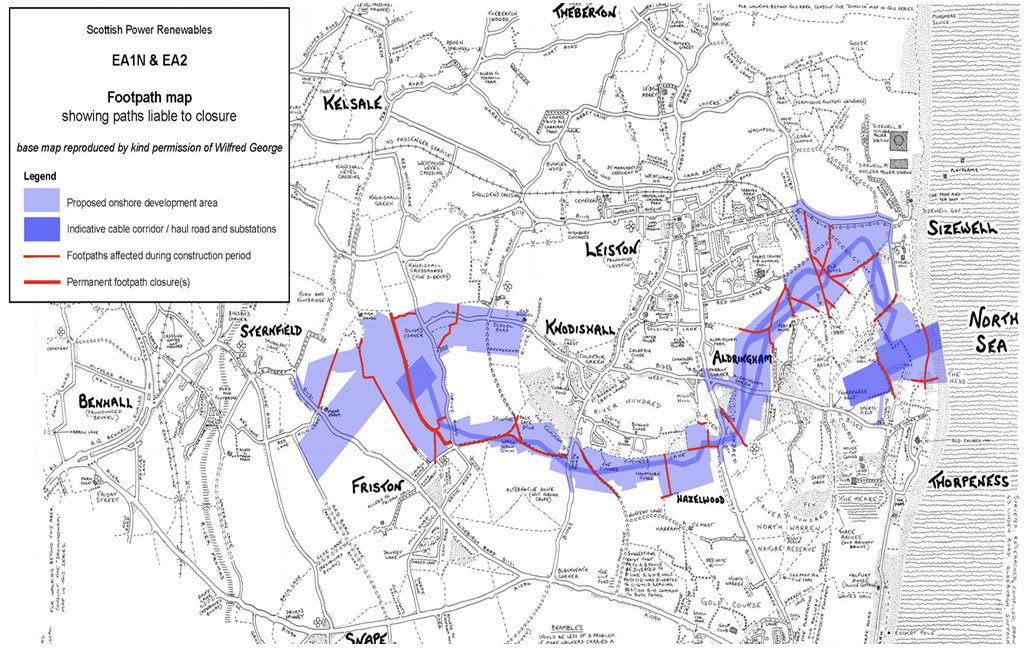 Illustration of the effects of EA1N & EA2 on the Suffolk Coasts footpaths and public rights of way.