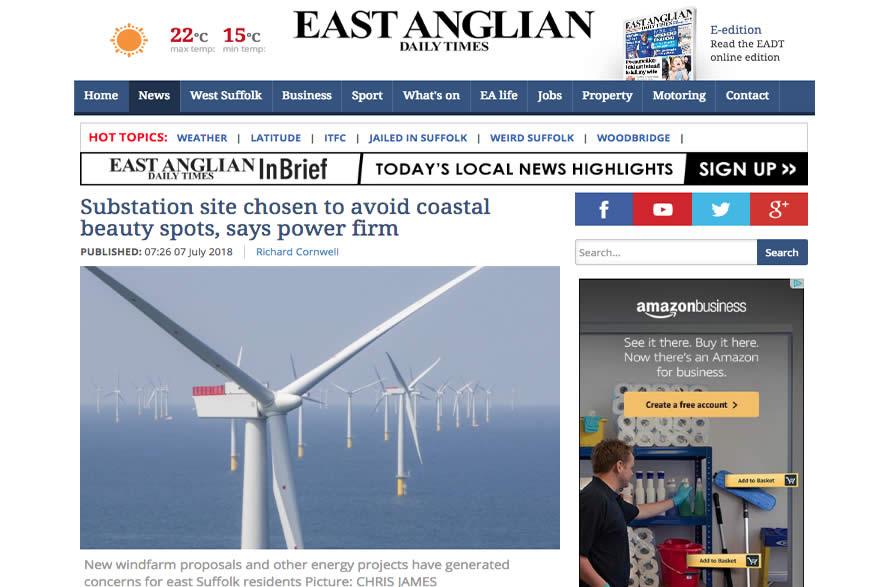Scottish Power chose Friston for Substation to avoid Suffolk Coast AONB.