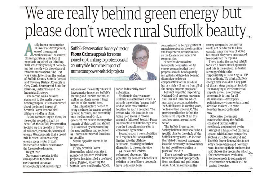 EADT Article by Fiona Cairns Suffolk Preservation Society - Don't let green energy wreck rural Suffolk.