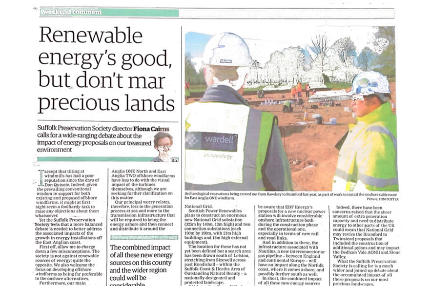 EADT Article by Fiona Cairns Suffolk Preservation Society - Impacts of Green Energy.