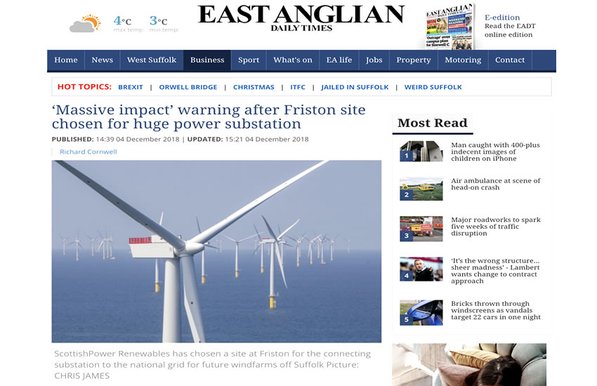 EADT Scottish Powers Substation decision will have a massive impact on Friston 04-12-2018.