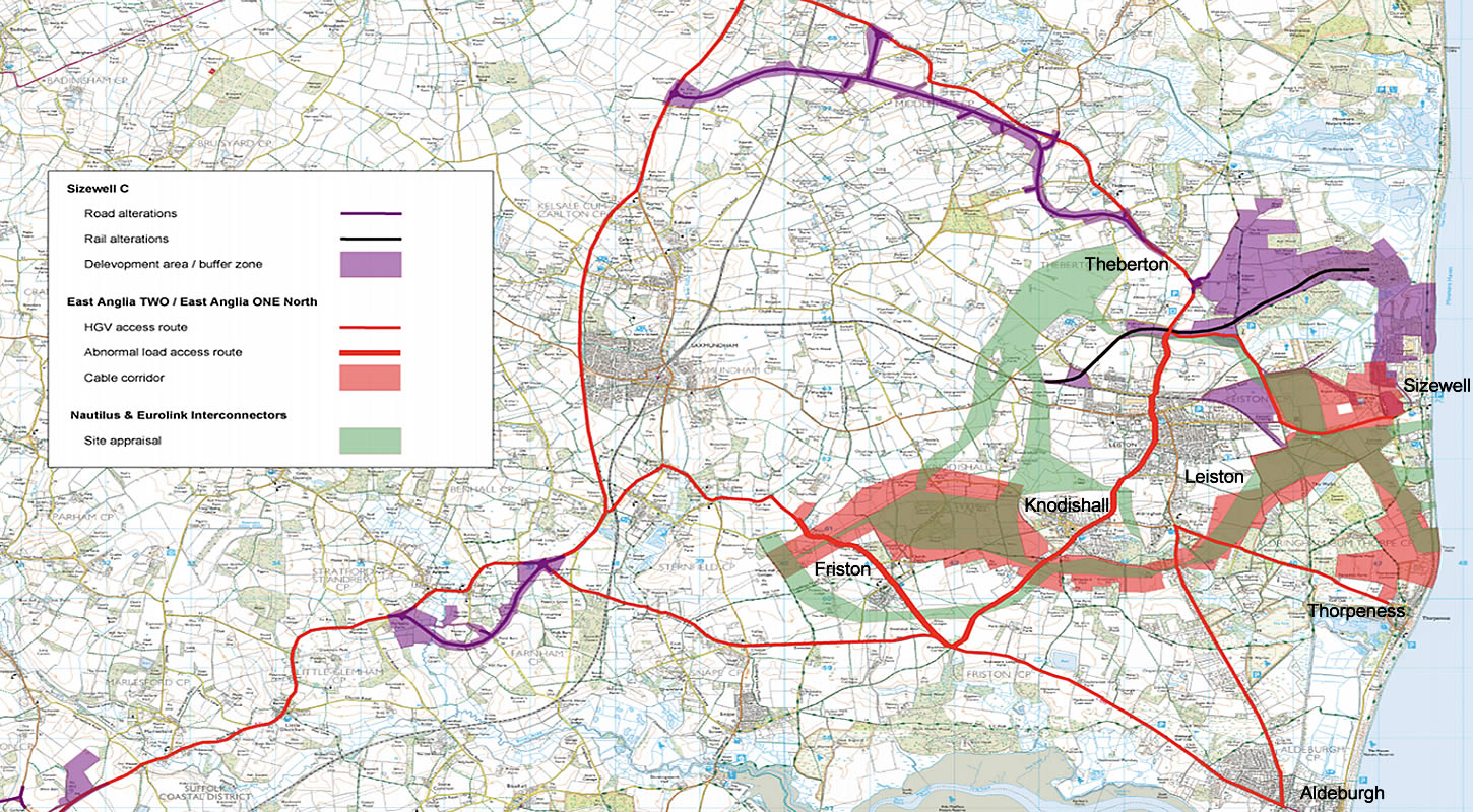 Energy proposals combined impact Suffolk Coastal map.
