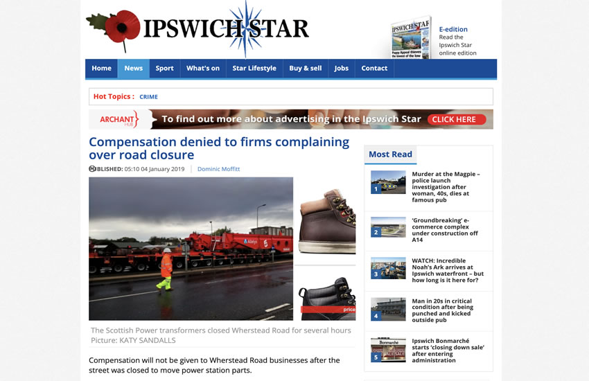 Compensation denied to firms complaining over road closures.
