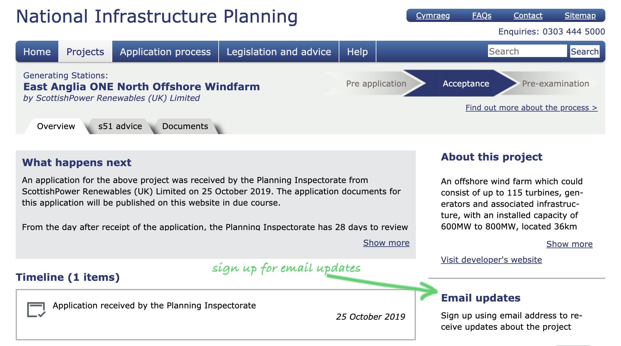 PINS Website screenshot EA1N DCO application 25th October 2019.