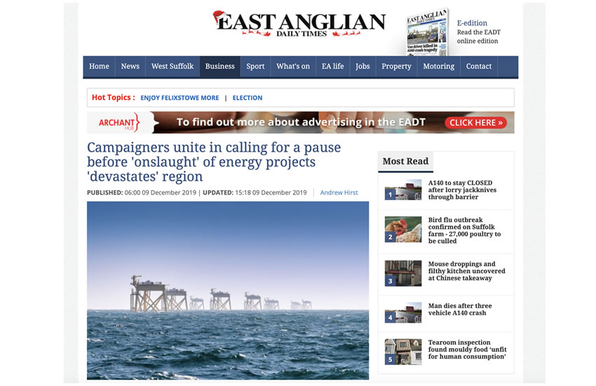 Suffolk campaign groups and stakeholders call for action on damaging energy proposals on the Suffolk Coast 09-12-2019