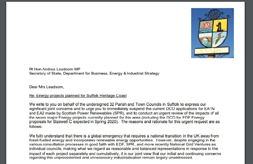 Suffolk parish councils have asked BEIS Secretary of State for an urgent energy review!