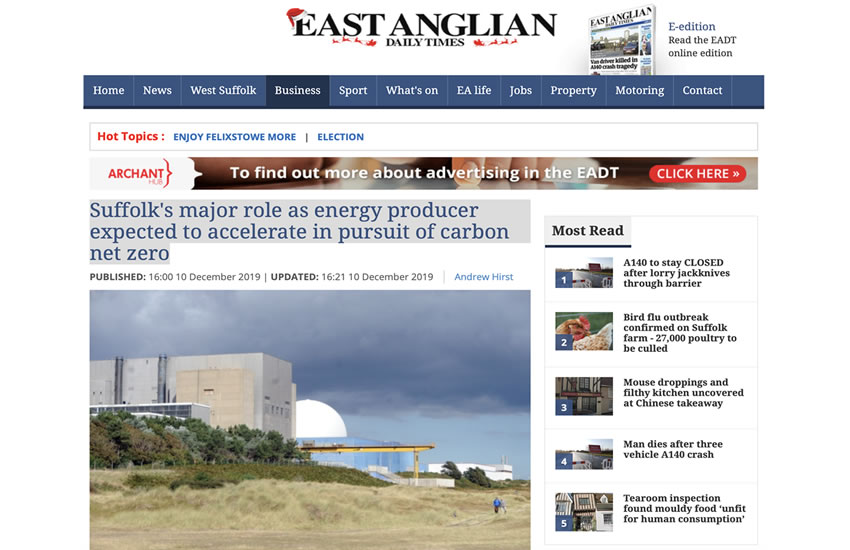 """Energy bosses say Suffolk's role at the """"epicentre"""" of the industry is expected to accelerate - EADT 12-12-2019"""