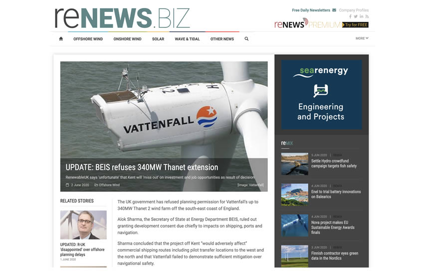 Alok Sharma BEIS refuses extension of Vattenfall Thanet 2 wind farm.